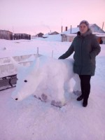 Лучшую снежную скульптуру вырезали в Потапово